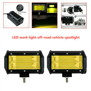 Car SUV Double Row Yellow 24 LED Stri Light Work Off-road  Vehicle Headlights