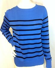 NWT ANNE KLEIN $79 Catalina Blue, Black Striped Back Zip Sweater Top Large