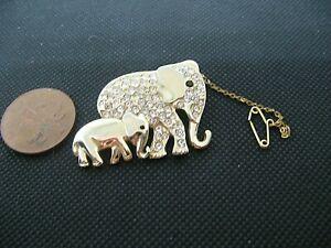 Beautiful Crystal Rhinestone Gold Tone Double Elephant Brooch.