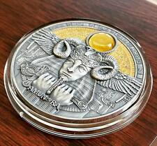 AMUN RA DIVINE FACES OF THE SUN 3 OZ NIUE 2020 5 DOLLARS Silver Coin AMBER