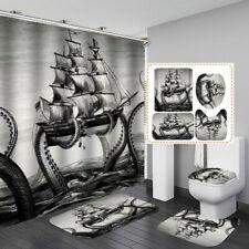 Kraken Vintage Grey Shower Curtain Bath Mat Toilet Cover Rug Bathroom Decor