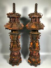 00006000 New listing Chinese antique ox horn carving dragon and phoenix octagonal stupa statue