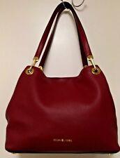 Michael Kors Large Merlot Red Leather Shoulder Bag Hobo Pebbled Leather EUC