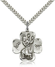 """Sterling Silver Saint Christopher Medal Catholic Necklace For Men On 24"""" Chain"""