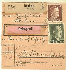 COLIS POSTAL ITTENHEIM ALSACE occupation allemande 1939/45