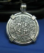 Sterling Silver Unique Pirate Doubloon Shipwreck Coin Pendant With Barrel Bail