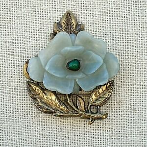 ANTIQUE CHINESE SILVER FLORAL & LEAF BROOCH W/ JADE & OTHER SEMI-PRECIOUS STONES