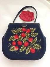 Cherry Bunches Needlepoint Tapestry Vtg 50's Purse W Wallet
