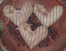 3 Primitive Blue VALENTINE LIVE LOVE LAUGH Hearts Bowl Fillers Ornies Tucks