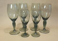 6 Vintage 60's Smokey Grey Glasses Sherry Port Liqueur Quality Mid-Century