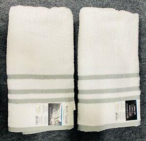 Mainstays Basic Bath Collection - Single Bath Towel, White Stripe- 2pcs
