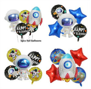 US! 5PCS Space Party Astronaut Rocket Ship Foil Balloons Birthday Party Supplies