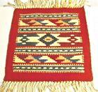 "Vintage Handwoven Wool Sample Carpet 11.50"" x 16"" Geometric Style. Turkey"