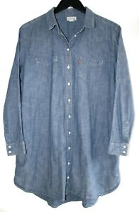 Women's LEVIS Chambray Denim Sunset Pocket Shirt Mini Dress Blue Size: L RRP:£95