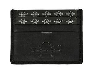 Real Leather ID Credit Card Holder Wallet Slim Pocket Case Cardholder Black
