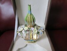Ornate Flower Hand Painted Perfume Bottle Middle East Egypt Leather Box