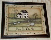 "Primitive Framed Print ""Peace Be With You"" Picture SHEEP Pasture 20 x 16"