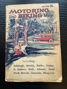 """VINTAGE MOTORING AND HIKING MAP EAST SCOTLAND FIRTH OF FORTH 3 MILES TO 1"""" VGC"""