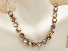 TANGERINE ORANGE mix cup chain Necklace made w/ Tangerine Premium crystals