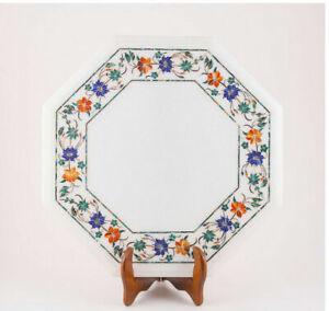 "15"" Marble Corner Table Top Semi Precious Stones inlay Art Handmade work"
