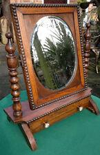 Antico ROVERE TAVOLINO da TOELETTA Specchio Swing con cassetto