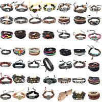 NEW Punk Mens Black Peace Owl Cow Leather Bracelets  Woven Cuff  Bnagle wrap NG
