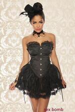 SEXY abito vestito corsetto nero BURLESQUE tulle pizzo S, M, L XL (40,42,44,46)