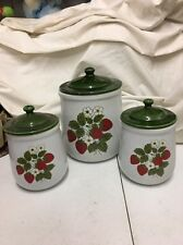 Vintage McCoy Strawberry Country Flour Jar 2 Sugar Jars with Lids cannister set