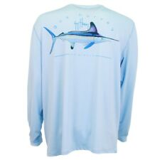 "Guy Harvey ""Clipper Pro"" UVX Performance Light Blue Long Sleeve Shirt X-LARGE"