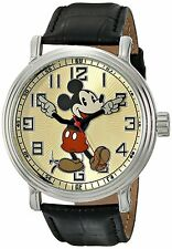 DISNEY Mickey Mouse Mens Watch Black Leather Band 56109 Vintage *NEW*
