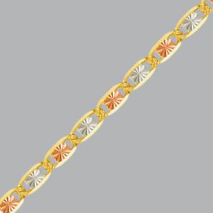 "NEW 14K TRI COLOR GOLD VALENTINO ANKLET 1.5mm  -6mm SIZES 7"" - 12"""