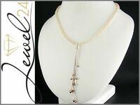 Halskette echt SIlber 925 Sterling rosegold gold mit Perle 43-48 cm lang Kette