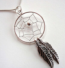 Dream Catcher Necklace with Double Sacred Feathers Sterling Silver Corona Sun