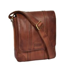 Mens Real Leather Two Tone Designer Cross Body Vintage Tan Casual Flight Bag