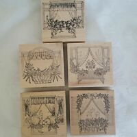 Lockhart Stamp Co Cupcakes Halloween Flowers Xmas Window Rubber Stamp Set of 5