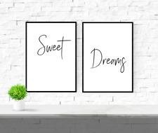 Bedroom quote prints - Sweet Dreams set - prints - gift - 2 x prints wall art
