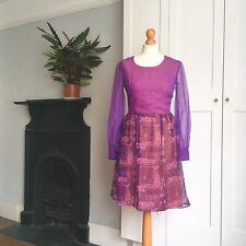 Vintage 70s Purple Pink White Psychedelic Tribal Print Sheer Sleeve Mini Dress 8