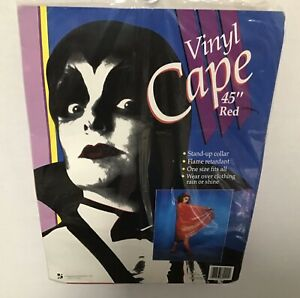 "Vintage VAMPIRE ~ Devil Halloween Costume Cape Vinyl Red 45"" New"