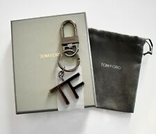 New Authentic TOM FORD Gunmetal TF LOGO KEY CHAIN Holder Key Fob Ring