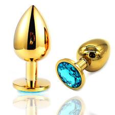 NeuTragbare Stecker Metall anal Hintern Edelstahl Kristall Piercingschmuck Gold