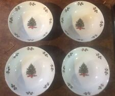 NOEL MORNING STONEWARE SET OF 4 SOUP CEREAL BOWLS CHRISTMAS TREE