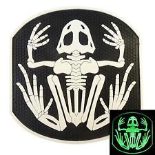 Navy Seal DEVGRU GLOW-IN-DARK Frogman WHITE 3D Skeleton Frog PVC Hook/Loop Patch
