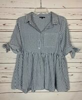 Papermoon Stitch Fix Women's S Small White Stripe Button Short Sleeve Top Blouse