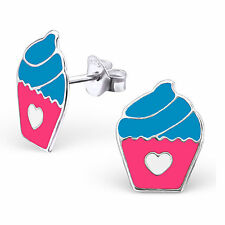 Childrens Sterling Silver pink blue cupcake Studs Earrings