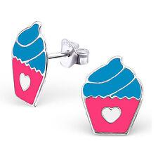 Childrens Sterling Silver pink blue cupcake Studs Earrings