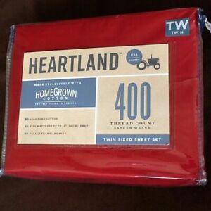 RED Twin Sheet Set Heartland 400 TC 100% HomeGrown Cotton Sateen NEW 3-piece