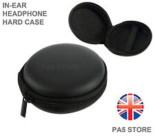 Black In Ear Ipod Headphone Earbuds Round Storage Hard Carry Case With Zip Ipad