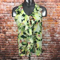 KUT FROM THE KLOTH Green Floral Ruffle Front Knot Tie Back  Top Size Small NWT