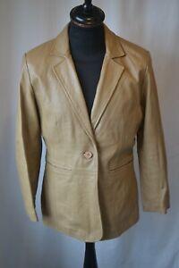 Vintage Women's leather master beige roxy box jacket size 14 mod soul rock