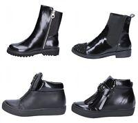 SARA LOPEZ scarpe donna stivaletti e sneakers nero pelle e tessuto